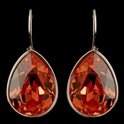Silver Padparadscha Swarovski Crystal Element Teardrop Leverback Earrings 9602