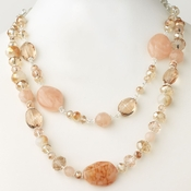 Silver Peach & Pink Faceted Glass Crystal Fashion Necklace 9525