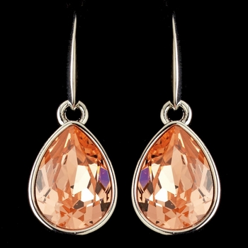 Silver Peach Swarovski Crystal Element Teardrop Dangle Hook Earrings 9601
