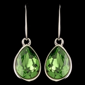 Silver Peridot Swarovski Crystal Element Teardrop Dangle Hook Earrings 9601