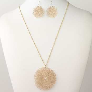 Gold Pink Round Faceted Glass Crystal Jewelry Set 9510