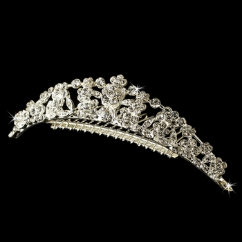 * Silver Plated Floral Bridal Comb 4169