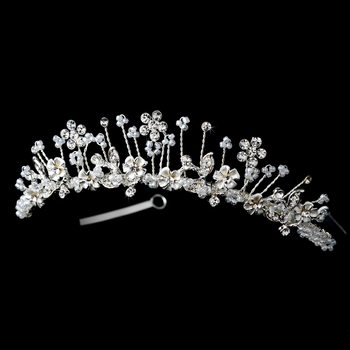 * Silver Plated Flower Girl's Tiara HPC 100