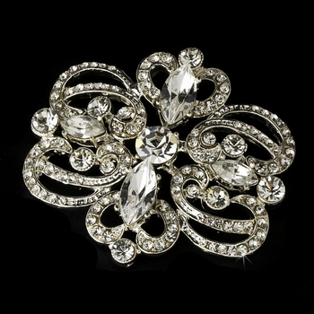 Silver Plated Vintage Rhinestone Swirl Bridal Hair Comb & Brooch Pin - Brooch 46***Discontinued***