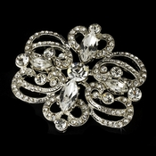 Silver Plated Vintage Rhinestone Swirl Bridal Hair Comb & Brooch Pin - Brooch 46