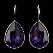 Silver Purple Velvet Swarovski Crystal Element Teardrop Leverback Earrings 9602