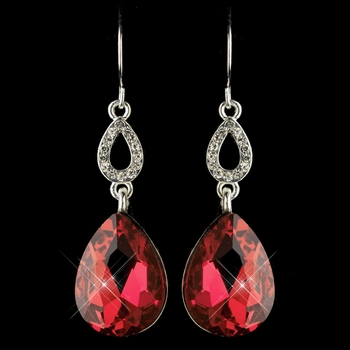 Silver Red & Clear CZ Crystal Drop Earrings 25285
