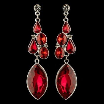 Silver Red Multi Cut Rhinestone Dangle Earrings 1390