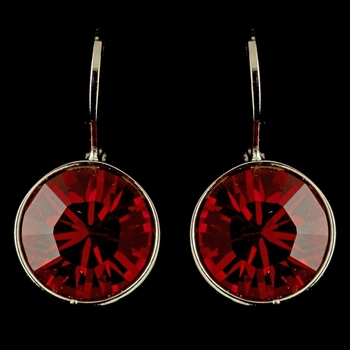 Silver Red Swarovski Crystal Element Round Leverback Earrings 9600