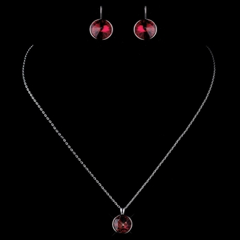 Silver Red Swarovski Element Crystal Round Crystal Necklace 9600 & Earrings 9603 Jewelry Set