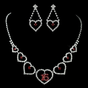 "Silver Red ""Sweet 16"" Necklace & Earrings Jewelry Set 460"