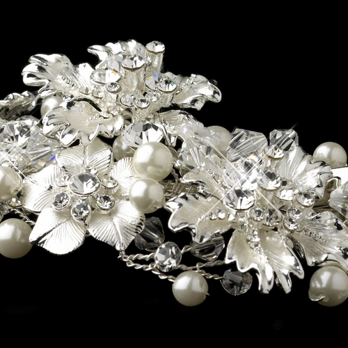 Silver Rhinestone, Crystal & Diamond White Pearl Headpiece 5429***Discontinued***
