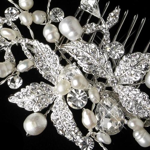 Silver Rhinestone & Freshwater Pearl Floral Leaves Comb 366
