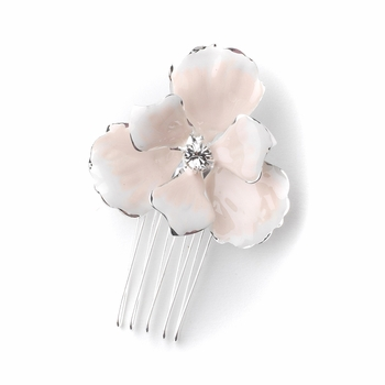 Silver Rhinestone & Light Blush Enameled Floral Accent Bridal Wedding Hair Pin 1517