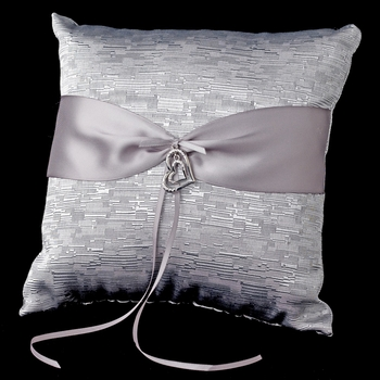 Silver Ribbon & Silver Heart Ring Pillow 722