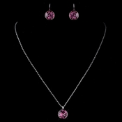 Silver Rose Round Swarovski Element Crystal Jewelry Set 9600