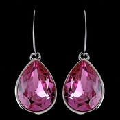 Silver Rose Swarovski Crystal Element Large Teardrop Hook Earrings 9604