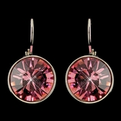 Silver Rose Swarovski Crystal Element Round Leverback Earrings 9600