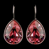 Silver Rose Swarovski Crystal Element Teardrop Leverback Earrings 9602