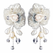 Silver Rum Accented Freshwater Pearl, Swarovski Crystal, Beads & Rhinestone Flower Rose Earrings 9904