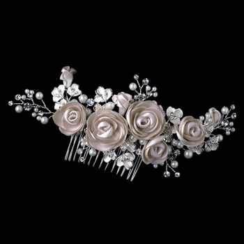 Silver Rum Pink Pearl & Rhinestone Comb with Matte Satin Flowers 4196