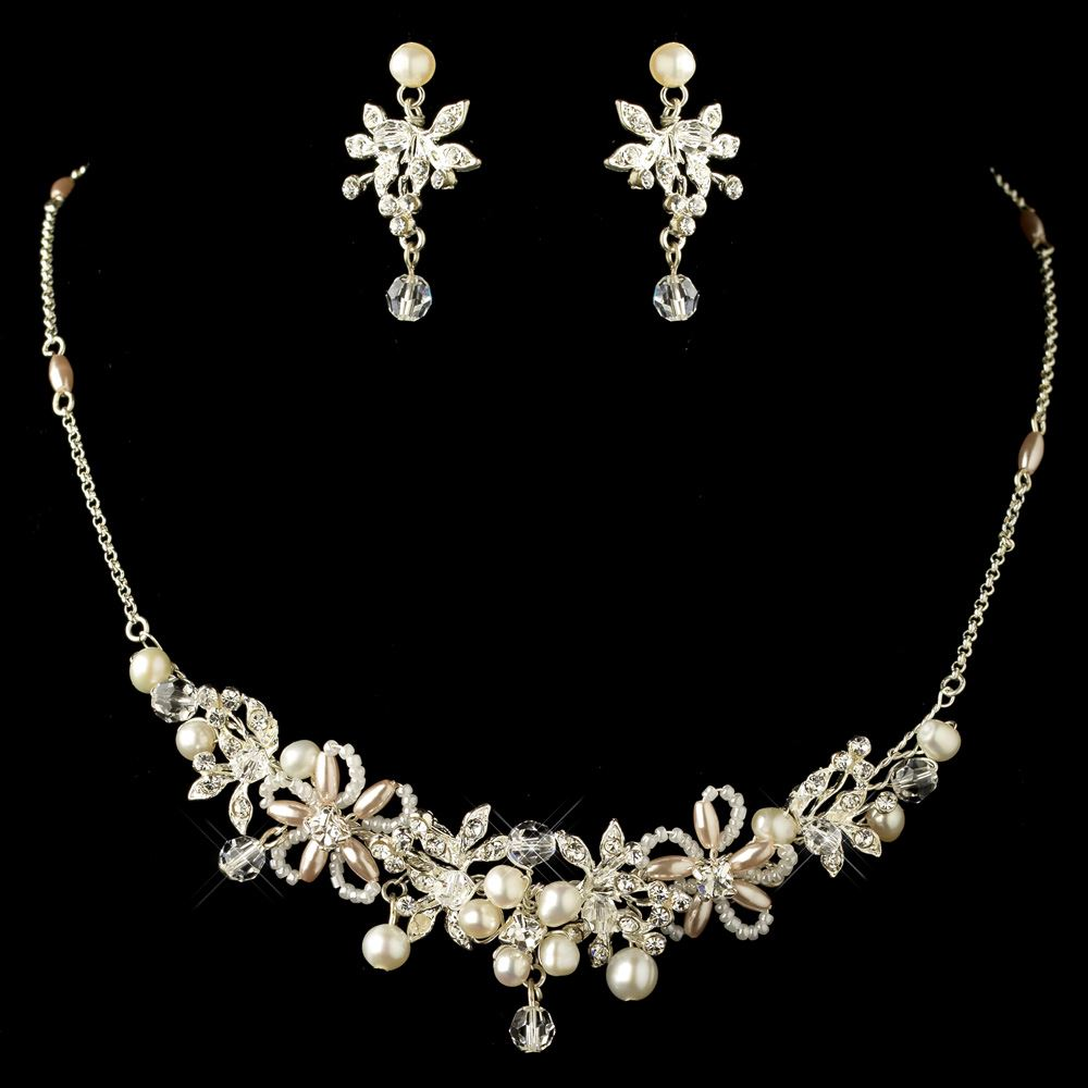 Silver rum pink pearl rhinestone rondelle jewelry set for Pink wedding jewelry sets