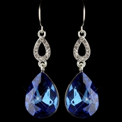 Silver Sapphire & Clear CZ Crystal Drop Earrings 25285