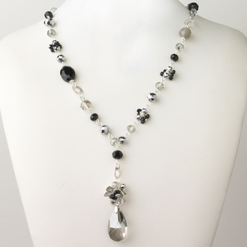 Silver Smoke Black Diamond Faceted Glass Fashion Necklace 9507