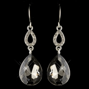 Silver Smoke & Clear CZ Crystal Drop Earrings 25285