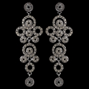 Silver Smoke Rhinestone Round Circle Dangle Earrings 9892