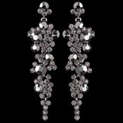 Silver Smoke Rhinestone Round Dangle Earrings 9889