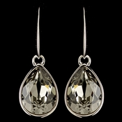 Silver Smoke Swarovski Crystal Element Teardrop Dangle Hook Earrings 9601