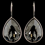 Silver Smoke Swarovski Crystal Element Teardrop Leverback Earrings 9602