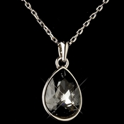 Silver Smoke Swarovski Crystal Element Teardrop Pendant Necklace 9602