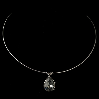 Silver Smoke Swarovski Crystal On Wire Teardrop Pendant Necklace 9604