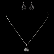 Silver Smoke Teardrop Swarovski Element Crystal Jewelry Set 9602