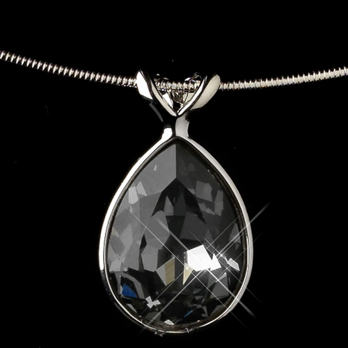 Silver Smoke Teardrop Swarovski Element Crystal Jewelry Set 9604