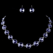 Silver Tanzanite Round Swarovski Element Crystal Necklace 9607 & Earrings 9603 Jewelry Set