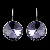Silver Tanzanite Swarovski Crystal Element Large Round Leverback Earrings 9603