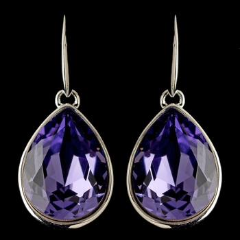 Silver Tanzanite Swarovski Crystal Element Large Teardrop Hook Earrings 9604