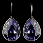 Silver Tanzanite Swarovski Crystal Element Teardrop Leverback Earrings 9602