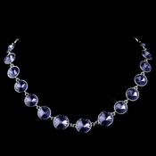 Silver Tanzanite Swarovski Crystal Round Solitaire Necklace 9607