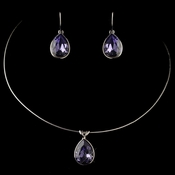 Silver Tanazanite Teardrop Swarovski Element Crystal Jewelry Set 9604
