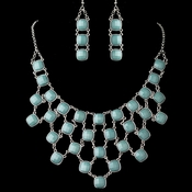 Silver Teal Acrylic Stone Fashion Jewelry Set 9502