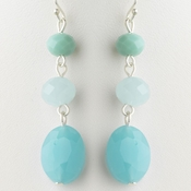 Silver Turquoise Faceted Glass Stone Dangle Earrings