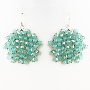 Silver Turquoise or Blue Round Faceted Glass Crystal Earrings 9510