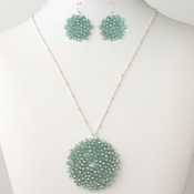 Silver Turquoise Round Faceted Glass Crystal Jewelry Set 9510