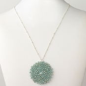 Silver Turquoise Round Faceted Glass Crystal Necklace 9510