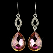Silver Vitral & Clear CZ Crystal Drop Earrings 25285