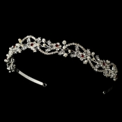 * Silver w/White Pearls & Burgundy Red Crystal Accents Headpiece 392